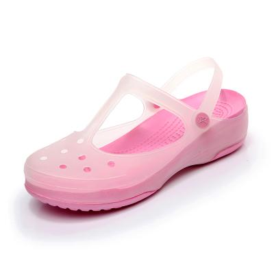 漂步洞洞鞋 女凉鞋夏季新款厚底变色果冻鞋防滑平底九孔包头休闲沙滩花园鞋女套脚713