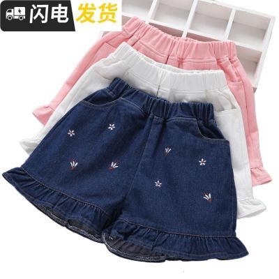时尚儿童裤子女童牛仔短裤2019新款夏薄款外穿洋气百搭中大童碎花