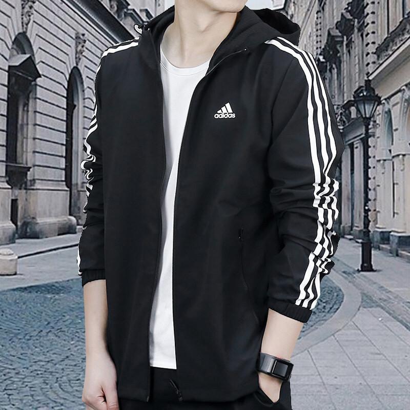 阿迪达斯男装2018春季新款运动装梭织夹克防风连帽黑色外套cx4985