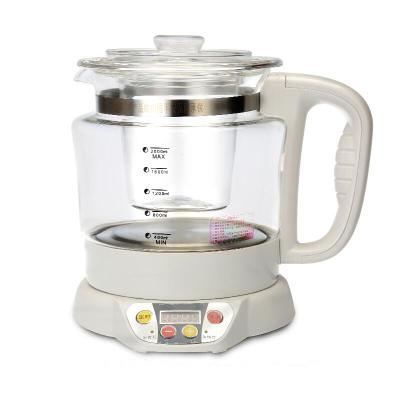 养生壶加厚玻璃煮茶壶电热水壶分体多功能煎药壶2L 白色+玻璃炖盅(送3样赠品)