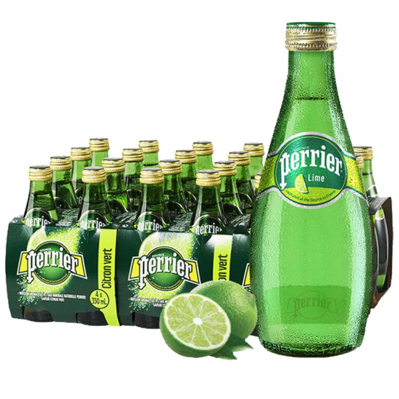 巴黎水(Perrier)天然气泡矿泉水(青柠味)玻璃瓶装 330ml*24瓶/箱