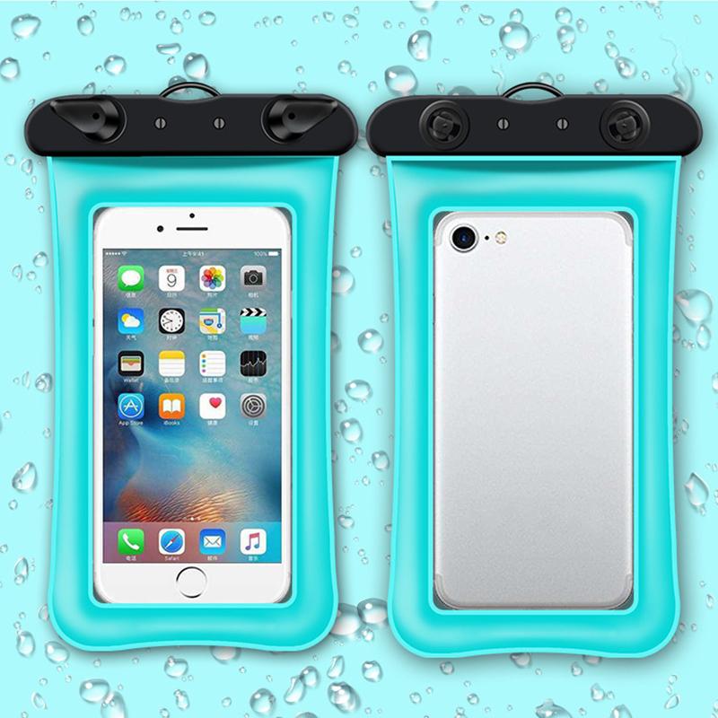 VIPin 新款气囊手机防水袋 潜水套触屏旅行游泳潜水漂流旅游透明拍照密封袋通用苹果 安卓6.5英寸及以下手机 粉蓝色