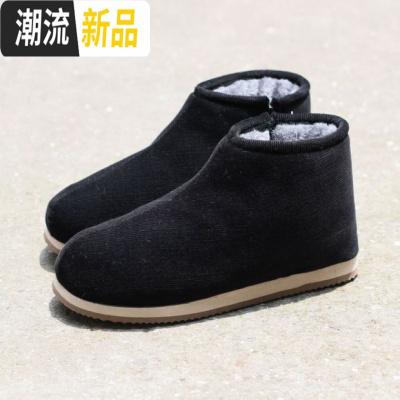 冬季保暖鞋灯芯绒棉布老式棉鞋女士家居鞋包脚加绒平底防滑妈妈鞋 广赫