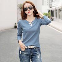 【100%纯棉】V领百搭纯色长袖T恤女士韩版打底衫上衣春季新品