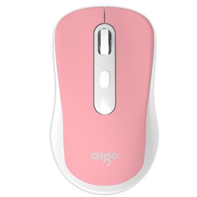 爱国者(AIGO) 2.4G无线鼠标静音无声可爱游戏办公家用小巧精致 M21 粉色