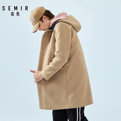 Semir森马毛呢大衣男连帽中长款外套男士春季2019韩版羊毛呢子风衣