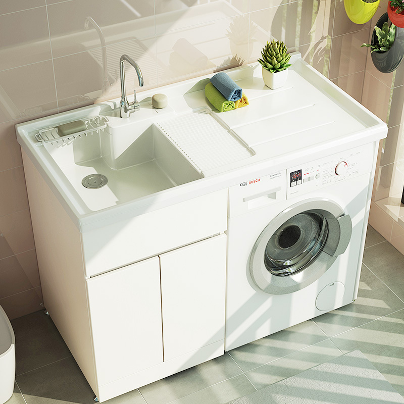 UNILER 联勒 免漆实木洗衣机柜 清风款 珠光白 120cm 1299元包邮