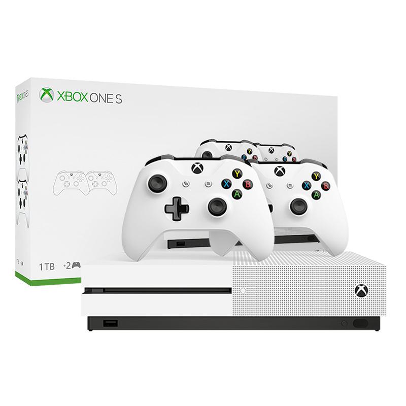 微软(Microsoft)Xbox One S 1TB 家庭娱乐双手柄套装 冰河白 4k超清 1TB存储