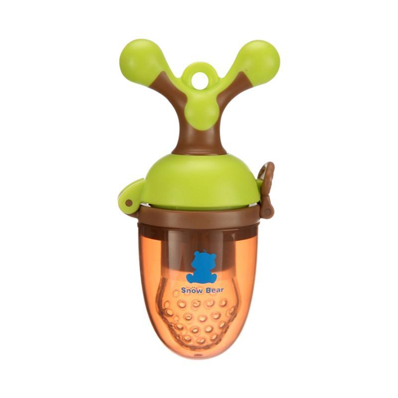 小白熊(XIAOBAIXIONG)宝宝食物咬咬袋水果蔬菜乐婴儿安抚牙胶绿棕色 09291 PP、硅胶 11*4.5*5