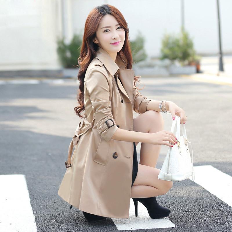 女春装风衣_春装女款外套中长风衣
