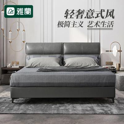 3399元包邮 雅兰 意式轻奢真皮软床 +任意床垫