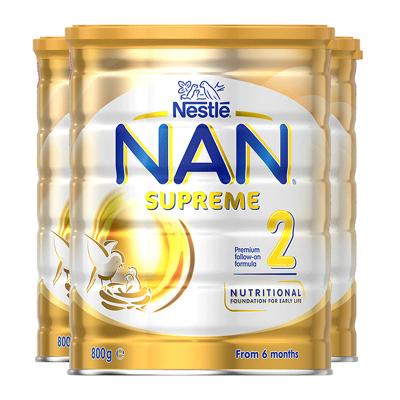【3罐保税】Nestle雀巢超级能恩NAN适度水解奶粉2段800g/罐装 6-12个月 婴儿防过敏 保质期20年9月