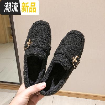 2019新款单鞋秋冬百搭平底豆豆鞋女加绒一脚蹬乐福鞋子英伦风女鞋 广赫