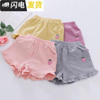 时尚2019女童夏季新款短裤童装小女孩裤子三分裤莓印花外穿质薄