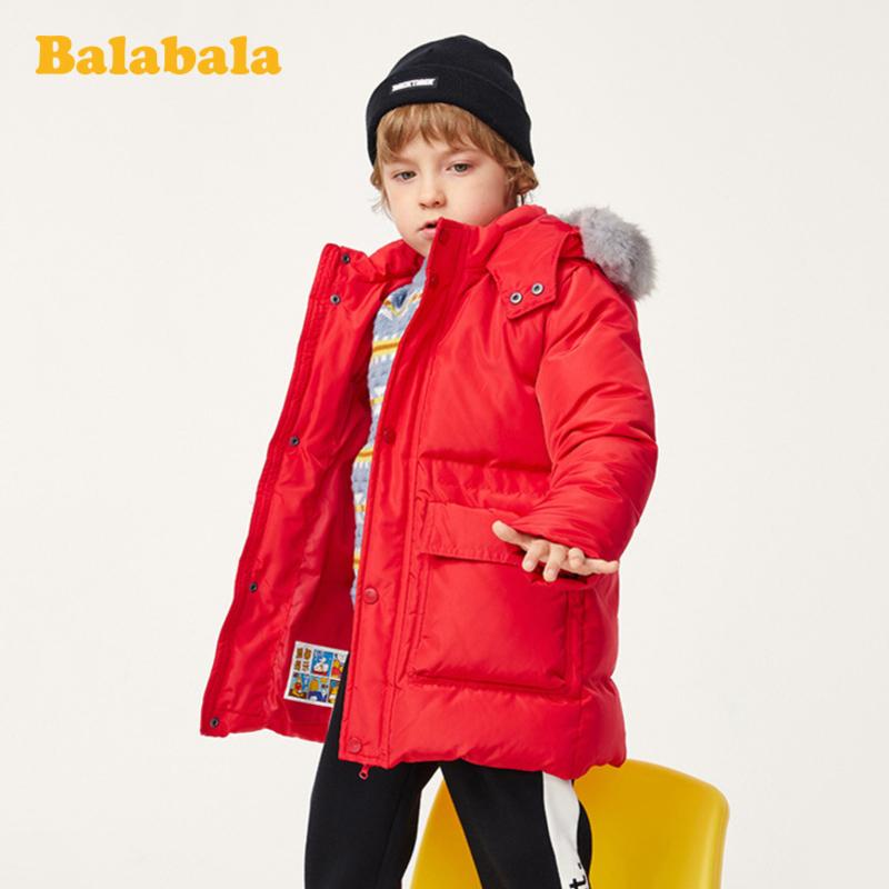 限90碼,80%灰鴨絨:巴拉巴拉 男童 加厚毛領連帽中長款羽絨服
