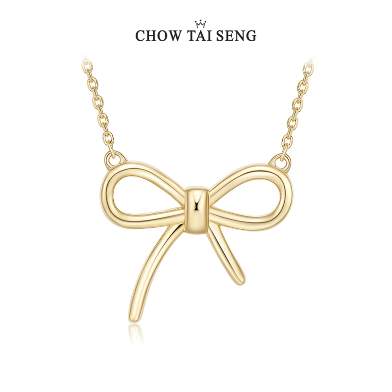 CHOW TAI SENG 周大生   银蝴蝶结锁骨链