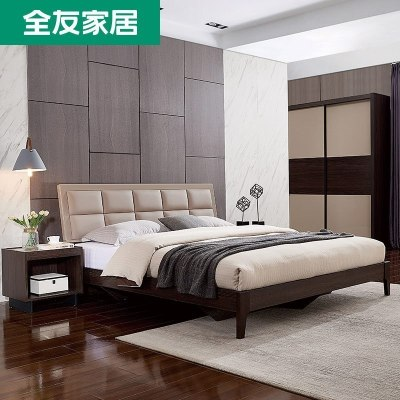 1032.5元包邮  全友 123901 意式板式软靠床1.8m+床头柜*1个